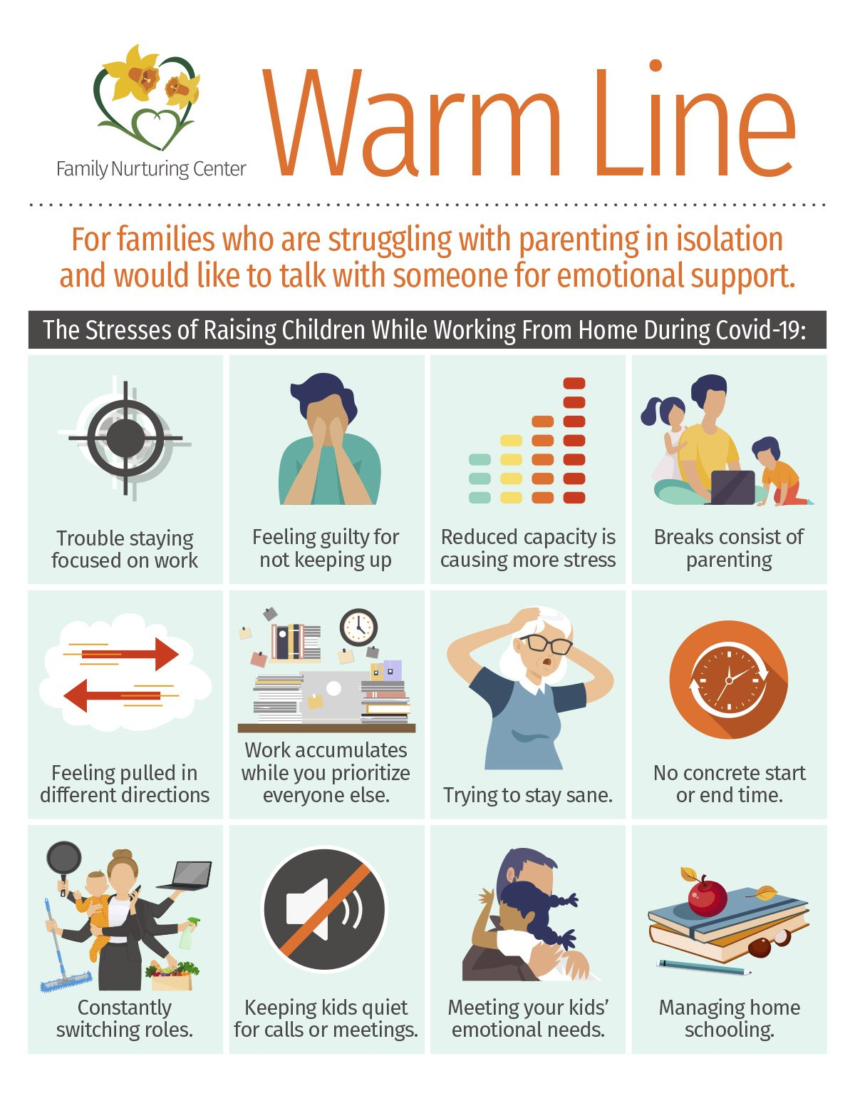 Family Nurturing Center, Warm Line, for Emotional Support